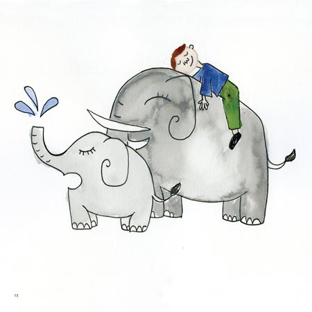 A page from the book picturing Theo riding an elephant